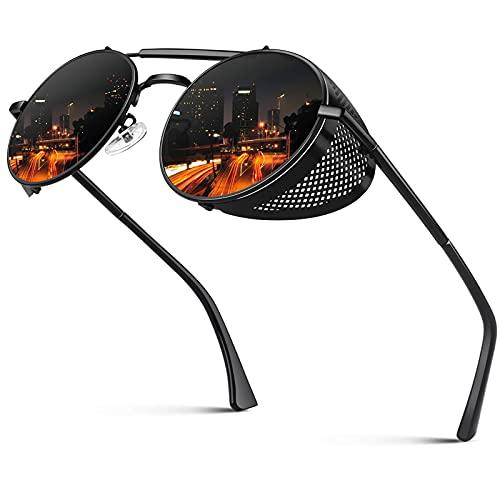 CGID E92 Steampunk estilo retro inspirado círculo metálico redondo gafas de sol polarizadas para hombre mujer Negro Gris