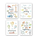 Cartoon Car Art Print,Inspirational Phrases Quotes Art Print, Construction Vehicle Airplane Canvas póster,Set of 4 Outer Space Painting,Balloon Artworks For Boys Room Playroom Decor 40x60cm