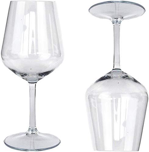 6 copas lavables de 400 cc para tritán de 21,5 cm de alto, para vino y champán, vasos de plástico de flúor