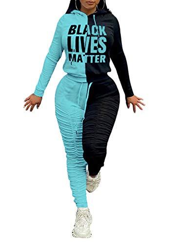 CORAFRITZ Damen-Trainingsanzug-Set, langärmelig, Farbblockdruck, mit Kapuze, gerüscht, Kordelzug, Hose, Loungewear-Set Gr. X-Large, grün