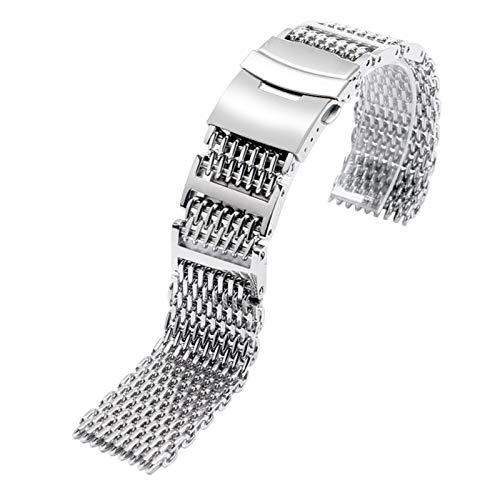 HUMINGG Correa Reloj 20 mm 22 mm 24 mm de reemplazo de Plata Cierre Plegable Hombre Reloj de Reloj de Banda de Banda de Acero Inoxidable + 2 Barras de Primavera (Band Width : 24mm)
