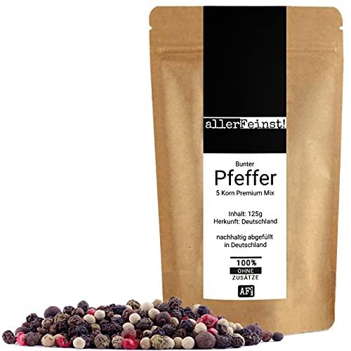allerFeinst! - Bunter Pfeffer ganz - Premium 5 Pfefferkorn Mix für Pfeffermühle, 1er Pack (1 x 125g)