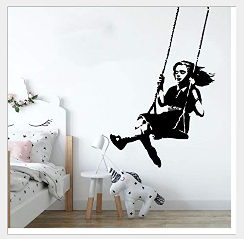 Wall Stickers Wine Glass Swing Girl Removable Personality Wall Study Living Room Bedroom Background 75*50Cm