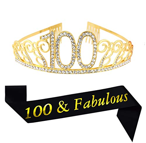 100th Brithday Gold Tiara and Sash, Glitter Satin 100 & Fabulous Sash and Crystal Rhinestone Birthday Crown for Happy 100th Birthday Party Supplies Favors Decorations 100th Birthday Cake Topper