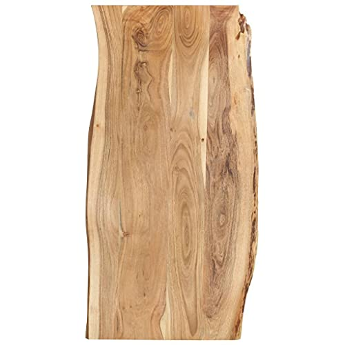 vidaXL Massivholz Tischplatte Baumkante Massivholzplatte Akazie 120x(50-60) x2,5cm