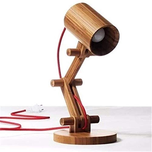 Outingstarcase Lámparas de mesa, lámparas de escritorio con estilo minimalista, antiguo dormitorio de madera lámpara de cabecera, arte de madera lámpara de escritorio, los niños que trabajan Rines dec