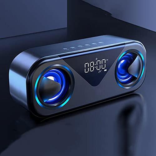 Altoparlanti Wireless Portatili, Radio FM Altoparlanti compatibili con Bluetooth LED Sound Box amplificato Altoparlanti Sveglia Subwoofer Home Theater Nero