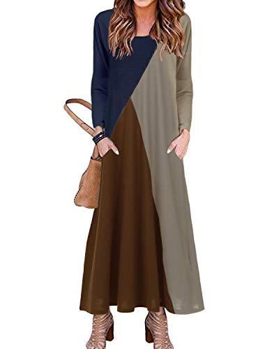 YOINS Maxikleid Damen Rundhals Strickkleider Kleider Baggy Kleid Fest Tasche Lose Colorblock l Langes Kleider für Damen Colorblock-Beige XL