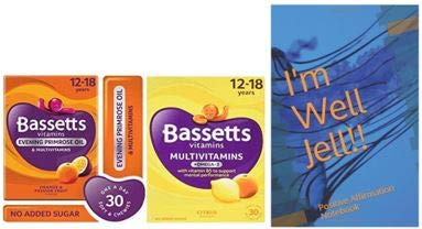 Bassetts Multivitamins Orange & Passionfruit Flavour and Citrus Flavour Soft & Chewies 12-18 Years 2x30 Bundle and Well Jell Positive Affirmation Notebook