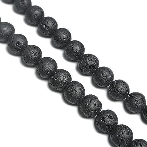 Schwarz Lavastein Perlen zum Auffädeln,47 Stück Natursteinperlen Halbedelsteine Perlen Rund Natur Schmucksteine Edelsteine Steinperlen Heilsteine Bastelperlen Schmuckperlen für Schmuckherstellung,8MM