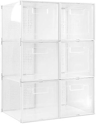 Navaris Shoe Boxes for Heels Set of 6 Clear Stackable Transparent Plastic Storage Box Organizer product image