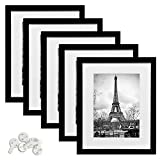 upsimples 12x16 Picture Frame Set of 5,Display Pictures 8.5x11 with Mat or 12x16 Without Mat,Black Photo Frames for Wall Display