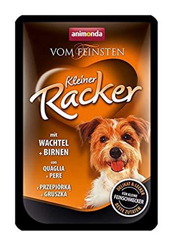 animonda Vom Feinsten Adult Hundefutter, Nassfutter für ausgewachsene Hunde, Kleiner Racker mit Wachteln und Birnen , 16 x 85 g