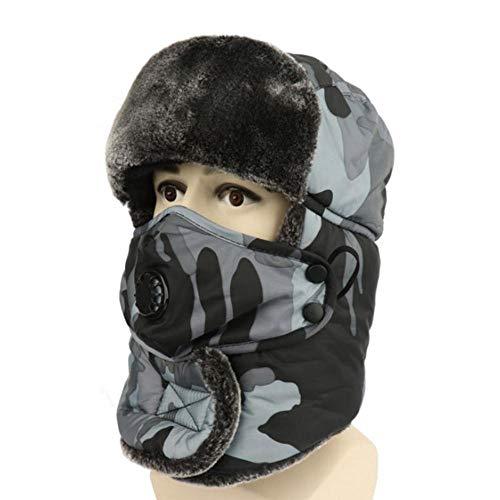 Ejército Militar Ushanka Sombrero de Bombardero de Camuflaje para Hombres y Mujeres, con máscara para Mantener Caliente el Receptor de Orejas de piloto, Gorro de esquí, Gris