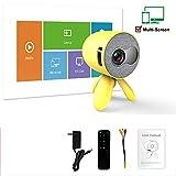 Mini Beamer Tragbarer Projektor HD 1080p LED-Videoprojektor Stereolautsprecher mit integriertem 1600-mAH-Lithium-Ionen-Akku für Home Movie Party-Spiele,Yellow