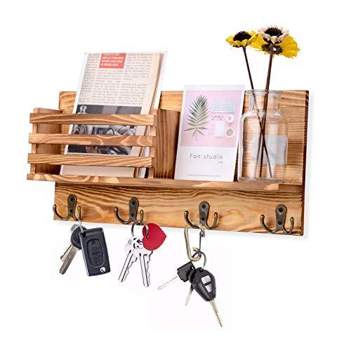 AXABING Postsortierer, Wandhalterung, Schlüsselhalter, Organizer, Wand, Holz-Organizer mit 4 Doppelhaken, geeignet für Zuhause, Büro, Flur, Küche Dekoration und Aufbewahrung