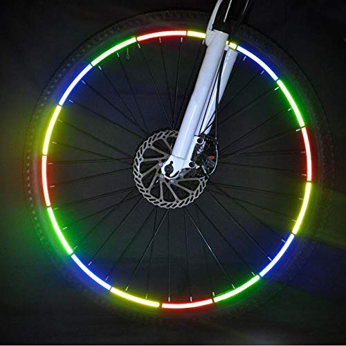 Landia 8 unids/Pack Pegatinas Reflectantes Reflector de Bicicleta de Motocicleta Bicicleta Ciclismo Seguridad llanta de Rueda Cinta Adhesiva Accesorios de Ciclismo más Seguros