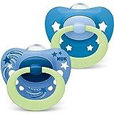 NUK Signature Night Schnuller | 0-6Monate | Schnuller mit Leuchteffekt | BPA-freies Silikon | blaue Sterne | 2Stück