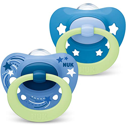NUK Signature Night Schnuller | 18-36Monate | Schnuller mit Leuchteffekt | BPA-freies Silikon | blaue Sterne | 2Stück