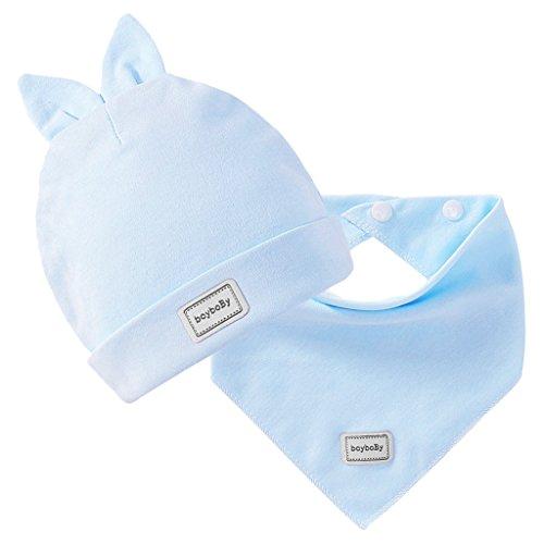 Capretto Neonato Cappello Berretto + Saliva Asciugamano Triangolo Testa Sciarpa Impostato Costume Del Bambino - Blu, Taglia unica