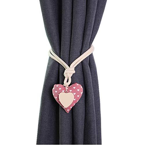 Moraphee 2Pcs Tiebacks de la Cortina con la Hebilla magnética Restos de la Cortina de Ventana para la habitación de los niños algodón Puro, Longitud los 55cm-Pink Heart