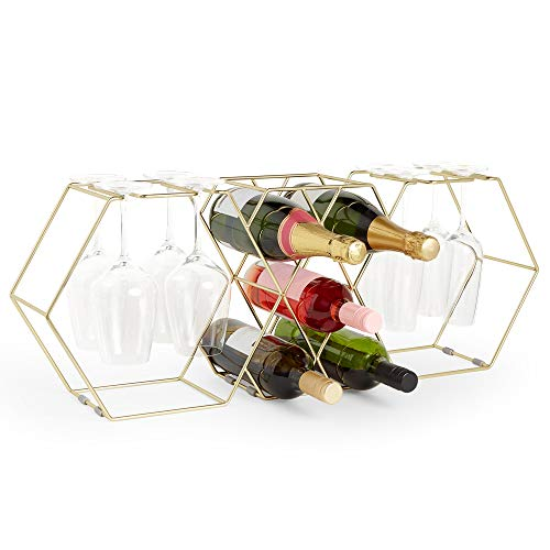 VonShef Weinglas & Flaschenhalter (Gold, 8 Bottle Wine Rack)