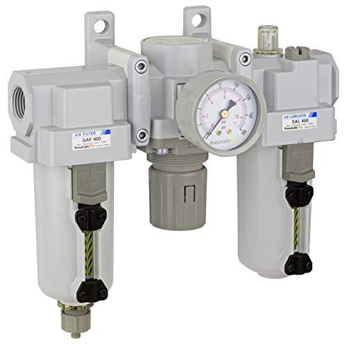 PneumaticPlus SAU400-N04G-MEP Compressed Air Filter Regulator Lubricator Combo 1/2' NPT - Metal Bowl, Manual Drain, Bracket, Gauge