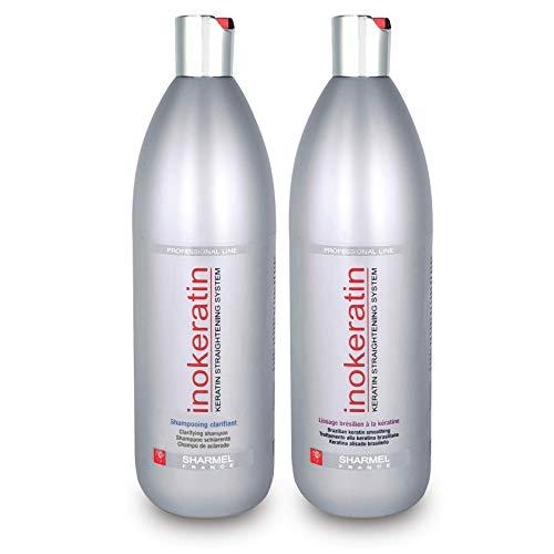 Set zur Brasilianischen Haarglättung Inokeratin - 1L - mit Keratin und Arganöl - Ohne Formaldehyd (Set zur Haarglättung 2x1L)