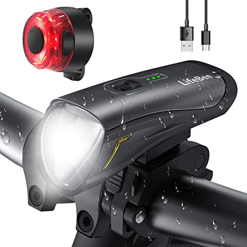 LIFEBEE LED Fahrradlicht, USB Wiederaufladbar Fahrradbeleuchtung Frontlicht und Rücklicht Fahrradleuchtenset, IPX5 Wasserdicht Fahrradlampe Vorne Fahrradlichter Set, 3 Modi Licht für Fahrrad