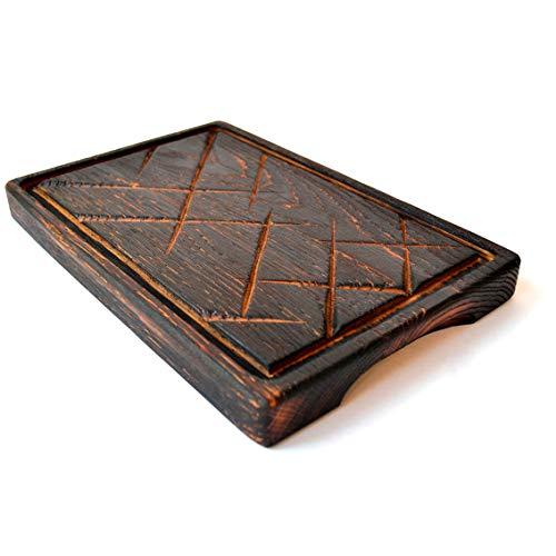 Tabla de Madera para Filetes de 30 x 20 Plato para Barbacoa de Roble Sólido - Plato de Corte Natural Grueso - Durabilidad y Calidad