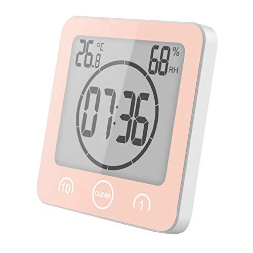 GuDoQi Badezimmeruhr, Digitaler Wecker Uhr, Wasserdicht für Wasserspray, Countdown Küchentimer, Großen LCD Display, Thermometer Hygrometer Duschuhr mit Saugnapf für Dusche, Küche (Rosa)
