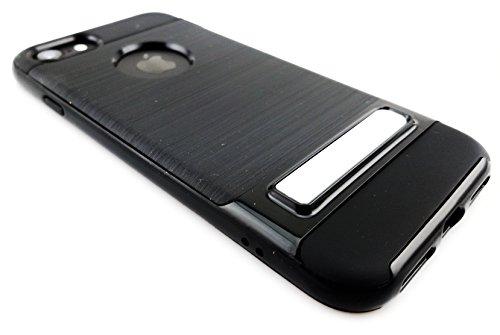 Gamma Shark iPhone X schokbestendig gehard TPU + plastic hoesje schokabsorptie bumper met 360 graden Ring Kickstand Vingerhouder, Bumper Hoes, Zwart