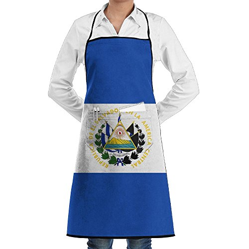Flag Of El Salvador Apron Lace Unisex Mens Womens Chef Adjustable Polyester Long Full Black Cooking Kitchen Aprons Bib With Pockets For Restaurant Baking Crafting Gardening BBQ Grill
