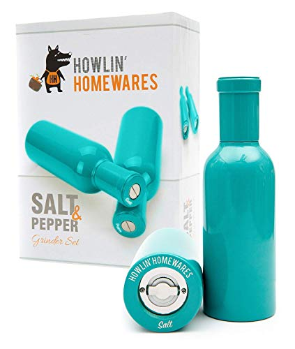 Howlin' Homewares Aqua Wooden Salt and Pepper Grinder Set - Salt and Pepper Mill with Stainless Steel and Ceramic Crusher - Salt and Pepper Grinders for Seasoning, Cooking, Serving and Dining (Aqua)