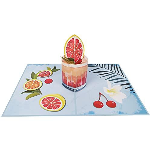 Pop Up Karte 3D Cocktail Glas Strandurlaub Sommerurlaub Gutschein Urlaub Meer See Strand Geburtstagskarte Glückwunschkarte Freizeit Ausflug - Cocktail 023