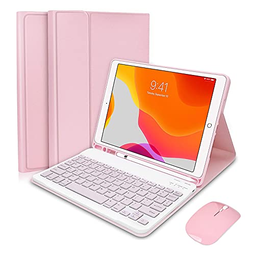 HaoHZ Ipad 10.2 8Th 7Th Generation 2020 Keyboard Case, Korean 7 Colors Backlit Detachable Keyboard Slim Leather Folio Smart Cover for Ipad 10.2 Inch/Ipad Air 10.5'(3Rd Gen)/Ipad Pro 10.5 Inch,Pink