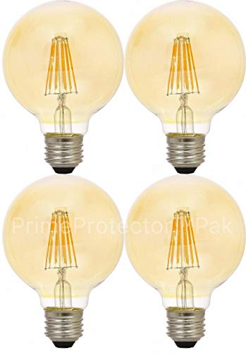 (4 Pack) Sylvania 79601 Vintage LED Light Bulb, 40 Watt G25 Round 3 Inch Globe E26 Medium Base, Amber Glass Edison Filament Antique Style, 40W Warm Amber Color - Indoor Outdoor Non Dimmable