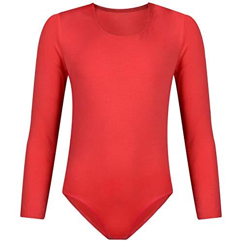 Dafi body met lange mouwen voor kinderen, meisjes, ronde hals, maten met drukknopen in stap | kinderkleding katoen | comfortabeler turnbody | balletshirt