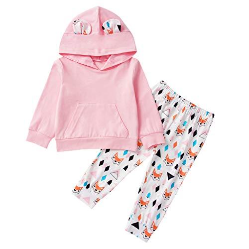 Neugeborene Baby-Mädchen Süße Kapuze Cartoon Lowrie Tops + Jogginghose Outfits Set
