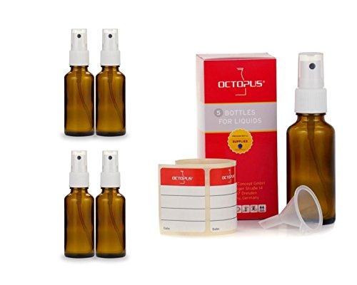 5 x 30 ml Braunglasflaschen mit Fingerzerstäuber, Mini-Trichter + Beschriftungsetiketten, Sprühflaschen mit Lichtschutz, Zerstäuberflaschen mit Pumpsprüher, z.B. für kolloidales Silber oder Parfüm
