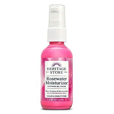 Heritage Store Rosewater Moisturizer | Gel Cream w/Hyaluronic Acid & Niacinamide | Dry to Combination Skin | Vegan | 2oz