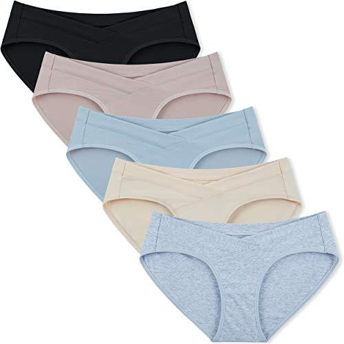 INNERSY Womens Maternity Underwear Under Bump Cotton Maternity Panties 5-Pack(Basics,X-Large)