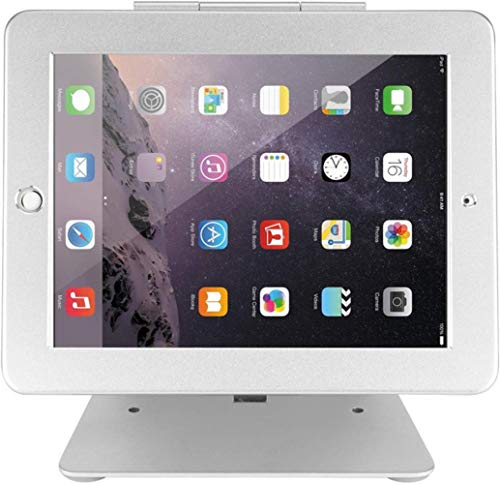 Security Tablet Stand Holder, Desktop Anti-Theft Pos Holder 360° Rotation With Lock And Key For Ipad 2,3,4 Ipad Air/Air 2,Silver