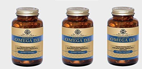 SOLGAR - ADVANCED OMEGA D3 120 PERLE SOFTGELS - 3 CONFEZIONI  olio salmone  EPA  DHA  vitamina D  allergie  cuore  vista