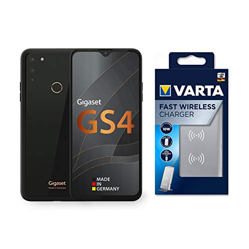 """Gigaset GS4 Smartphone Made in Germany 4300mAh Akku mit Schnellladefunktion - 6,3\"""" Full HD+ V-Notch Display - NFC - 4GB RAM+64GB interner Speicher - Android 10 Black inkl. Fast Wireless Charger"""