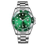Reloj para hombre de 40 mm con efecto de agua, color verde, banda de...