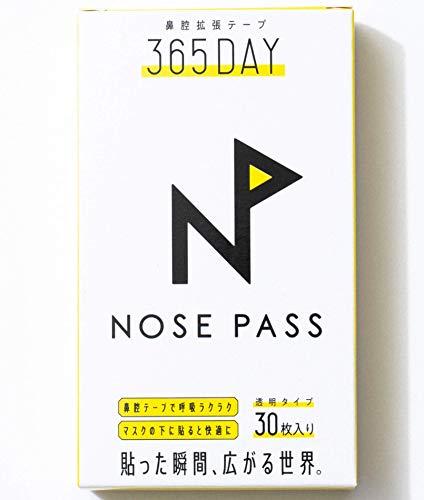 ◤日本人の鼻にピッタリフィット◢ 花粉対策 眠気スッキリ ぐっすり眠れる 鼻詰まり解消テープ 朝の口の乾燥を緩和【NOSEPASS】 ノーパス 鼻腔拡張テープ クリア 30枚入り