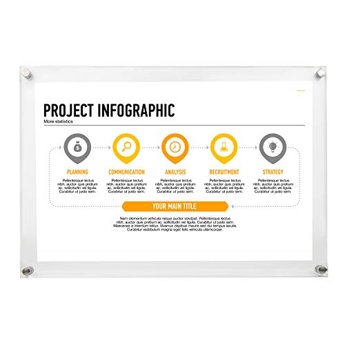 Floating Frame 11x17 Wall Mount w/Silver Bolts - Acrylic Sign Holder - 11x17 Frame - Document Frame - Certificate Display (11x17)