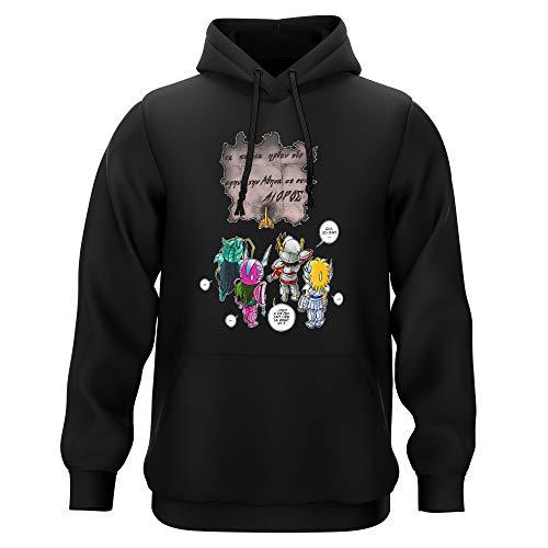 Sweat-shirt à Capuche Noir parodie Saint Seiya - Seiya, Shiryu, Hyoga et Shun dans la maison d'Aioros - 4 touristes japonais perdus en Grèce... (Sweatshirt de qualité premium de taille L - imprimé