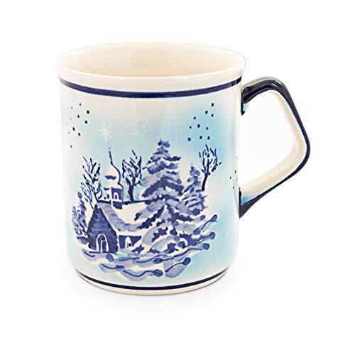 Original Bunzlauer Keramik Kaffeebecher mit eckigem Henkel 0,25 Liter im winterlichen Dekor DU11